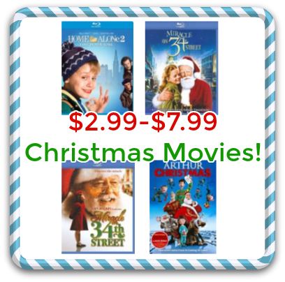 Christmas Movies on Blu-ray, $2.99-$7.99 from Best Buy!