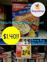 Wow Lipton Soups only $1.40 at Stop & Shop Bonus Buy Thru 2/12/17