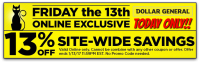 13% off DG Online Orders ~ Today, #Fridaythe13th ONLY!