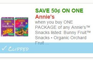 Save $0.50 on (1) PACKAGE of any Annie's™ Snacks