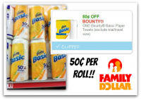 .50 Bounty Basic Rolls at Family Dollar! Everyday Price!