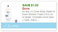 **NEW Printable Coupon**$1.00 off one Dove Body Wash or Foam product