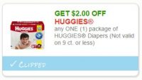 Save $2.00 any ONE (1) package of HUGGIES Diapers