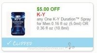 **NEW Printable Coupon**$5.00 off one K-Y Duration Spray for Men
