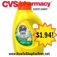 Hot Deal Tide Simply Detergent $1.94 at CVS (1/22/17-1/28/17)