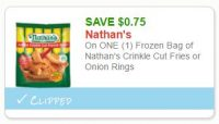 **New Printable Coupon** $0.75 off one Nathan's Fries or Onion Rings