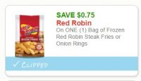 **NEW Printable Coupon**$0.75 off one Red Robin Fries or Onion Rings