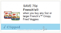 $0.75/1 French's Crispy Fried Veggies ~ Delicious Doubler!