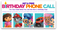 FREE Personalized Birthday Call via Nick Jr. Birthday Club!