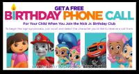 FREE Personalized Birthday Call via Nick Jr. Birthday Club!