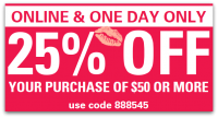ONE-DAY ONLY ~ 25% off Your Sally Beauty $50+ Order!