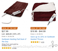 Save on Sunbeam Heating Pads & Throws—Deal of the Day