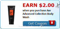 $2 cash back on Axe Advanced Collection Body Wash!