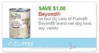 **NEW Printable Coupon**$1.00/4 Cans Beyond Dog Food