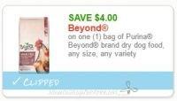 **NEW Printable Coupon**$4.00 off one Beyond Dry Dog Food