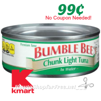 99¢ Bumble Bee Tuna @ Kmart without Coupons! (2/26-3/4)
