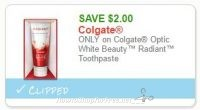 **NEW Printable Coupon** $2.00 off one Colgate Optic White Beauty Radiant