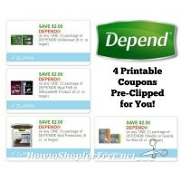 **NEW Printable Coupons** Four Depend Coupons Pre-Clipped for You!