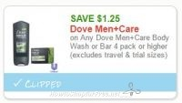 $1.25/1 Dove Men+Care Body Wash/Bar ~ Print for Clearance Hunting!