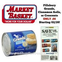 Pillsbury Grands, Crescents, or Cinnamon Rolls ONLY .66 at Market Basket Starting 02/26!