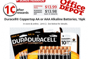 16pk. Duracell Batteries for ONE PENNY after Rewards!
