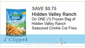 $0.75/1 Hidden Valley Ranch Seasoned Fries ~ Print ASAP!