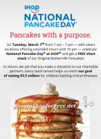 Free Short Stack at #IHOP on 3/7 ~ National Pancake Day!