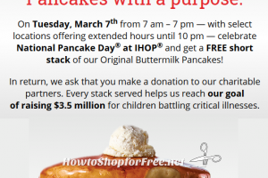 Free Short Stack at #IHOP on 3/7 ~ National Pancake Day!