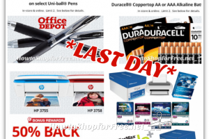 LAST CALL for *HOT* Office Depot Rewards ~ FREE Pens, .01 Batteries +More!