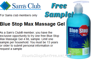 FREE Blue Stop Max Massage Gel Sample (Sam's Club Members)