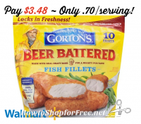 10ct. Gorton's Beer Battered Fillets $3.48 @ Walmart (3/19-30)