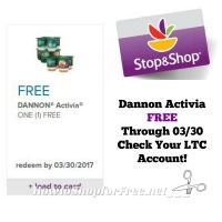Activia FREE at Stop & Shop Through 03/30 ~ Check Your LTC Account!