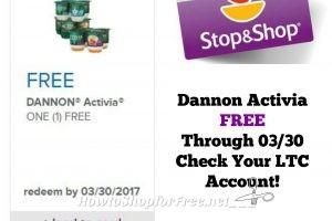 Activia FREE at Stop & Shop Through 03/30 ~ Check Your LTC Account!