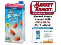 Almond Breeze Almond Milk ONLY $1.00 at Market Basket 03/12 ~ 03/18!