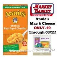 Annie's Mac & Cheese ONLY .49 at Market Basket Through 03/11!