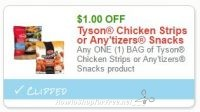 **NEW Printable Coupon** $1.00 off one Tyson Chicken Strips