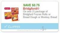 **NEW Printable Coupon** $0.75 off one Bridgford