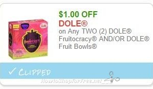 **NEW Printable Coupon** $1.00 off any two Dole Fruitocracy or Fruit Bowl