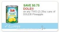 **NEW Printable Coupon** $0.75 off any 2 Dole Pineapple