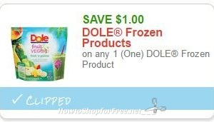 **NEW Printable Coupon** $1.00 off one DOLE Frozen Products