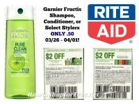 Garnier Fructis Shampoo, Conditioner, or Select Stylers ONLY .50 Rite Aid 03/26 ~ 04/01!