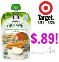 Gerber Organic Food Pouches only $.89 at Target! 3/19 – 3/25