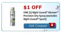 *****Hot New Printable***** $1/1 Right Guard Xtreme Precision Dry Spray!