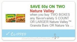 image about Nature Valley Printable Coupons called Clean Printable Coupon** $0.50 off 2 Character Valley Bars How