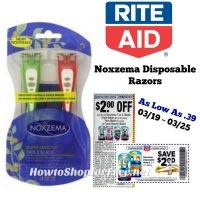 Noxzema Disposable Razors As Low As .39 at Rite Aid Through 03/25! **NEW Printable Coupon Available**