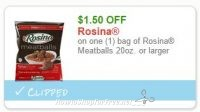 **NEW Printable Coupon** $1.50 off one Rosina Meatballs