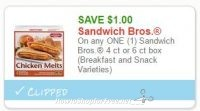 **NEW Printable Coupon** $1.00 off one Sandwich Bros