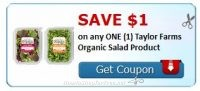 **NEW Printable Coupon** $1.00/1 Taylor Farms Organic Salad Product!
