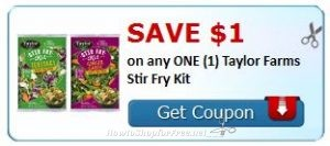 picture relating to Fry's Printable Coupons called Contemporary Printable Discount codes** $1.00/1 or $1.50/1 Taylor Farms Stir