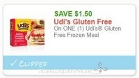 **NEW Printable Coupon** $1.50 off one Udi's Gluten Free Frozen Meal